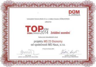 TOP Dům 2014 - Zvláštní ocenění - Budoucnost obnovitelných zdrojů - Dům MS 23 Ekonomy od společnosti MS Haus s.r.o.